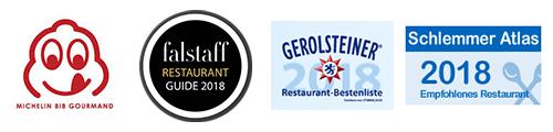 Michelin Bib Gourmand, Falstaff Restaurant Guide 2018, Gerolsteiner Restaurant Bestenliste 2018, Schlemmer Atlas 2018